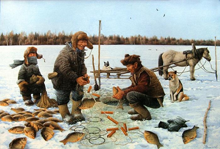 картины с изображением рыбалки
